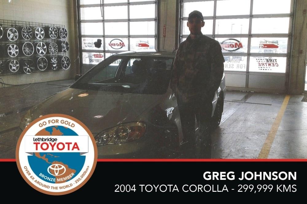 GFG. Bronze. Greg Johnson. 2004 Toyota Corolla. 299,999 KM. July 2017