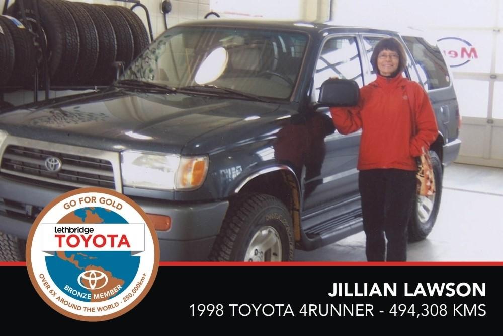GFG. Bronze. Jillian Lawson. 1998 Toyota 4Runner. 494, 308 KM. July 2017