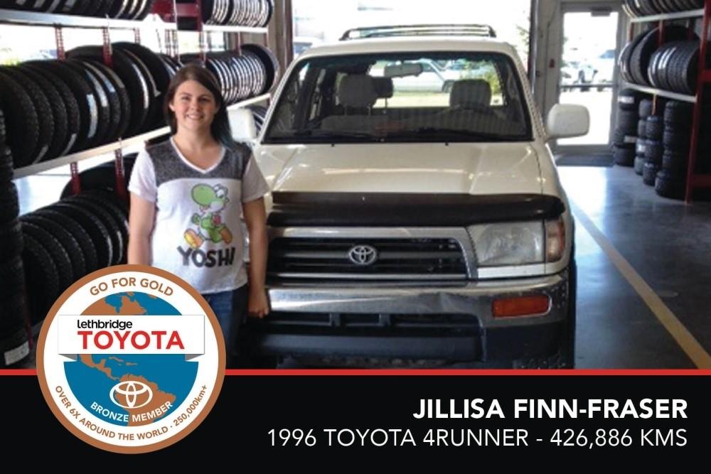 GFG. Bronze. Jillisa Finn-Fraser. 1996 Toyota 4Runner. 426 886 KM. July 2017