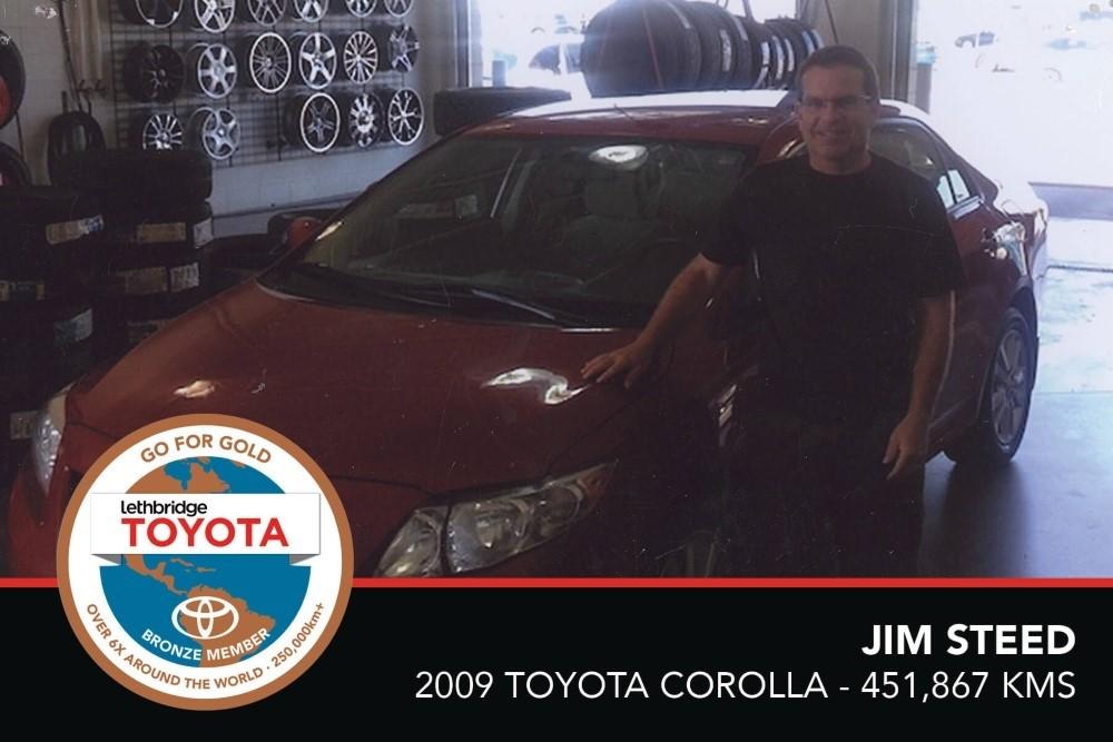 GFG. Bronze. Jim Steed. 2009 Toyota Corolla. 451, 867 KM. July 2017