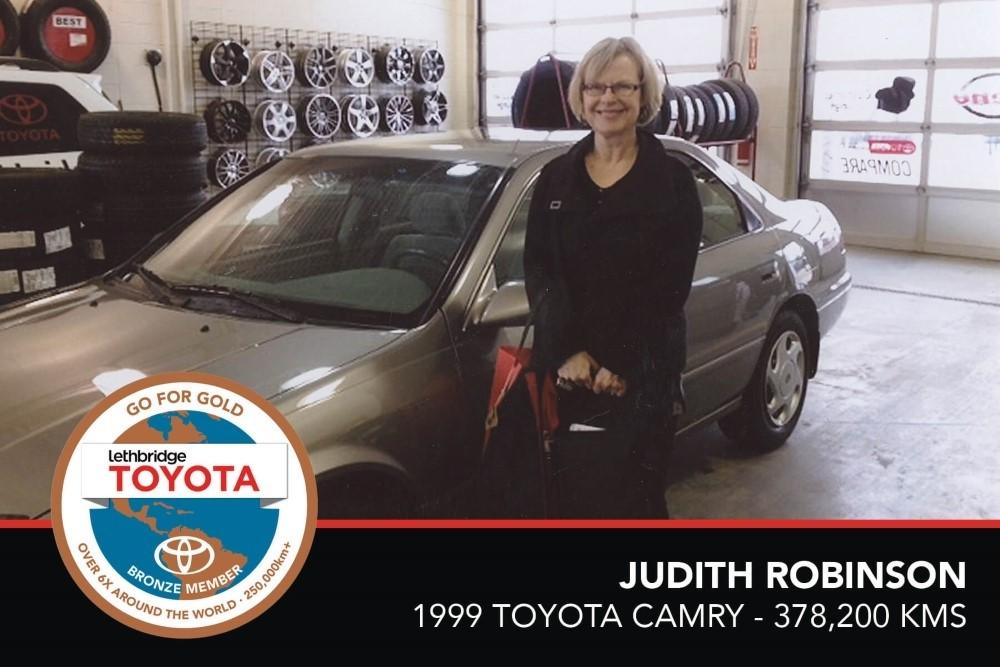GFG. Bronze. Judith Robinson. 1999 Toyota Camry. 378 200 KM. July 2017