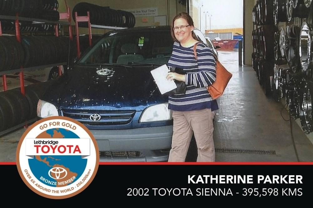 GFG. Bronze. Katherine Parker. 2002 Toyota Sienna. 395 598 KM. July 2017