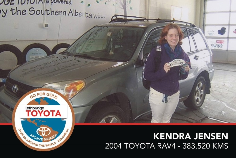 GFG. Bronze. Kendra Jensen. 2004 Toyota Rav4. 383 520 KM. July 2017