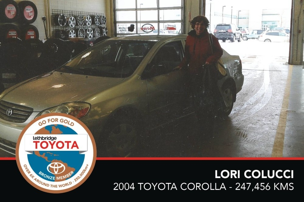 GFG. Bronze. Lori Colucci. 2004 Toyota Corolla. 247 456 KM. July 2017