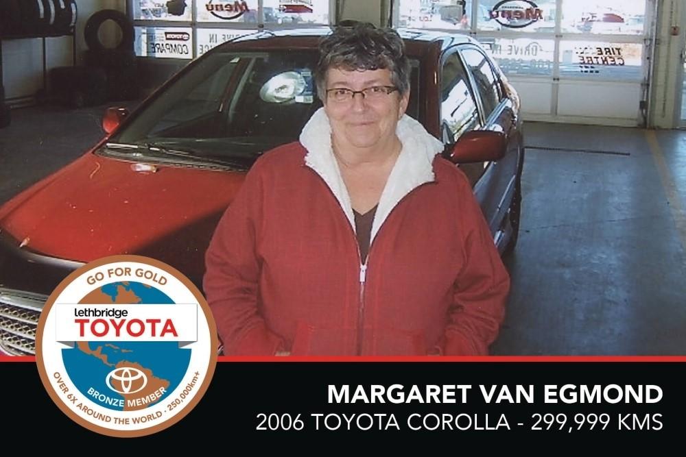 GFG. Bronze. Margaret Van Egmond. 2006 Toyota Corolla. 299 999 KM. July 2017
