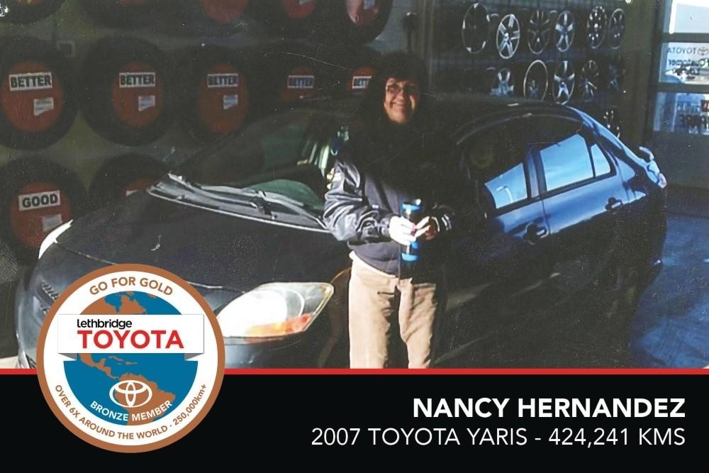 GFG. Bronze. Nancy Hernandez. 2007 Toyota Yaris. 424 241 KM. July 2017