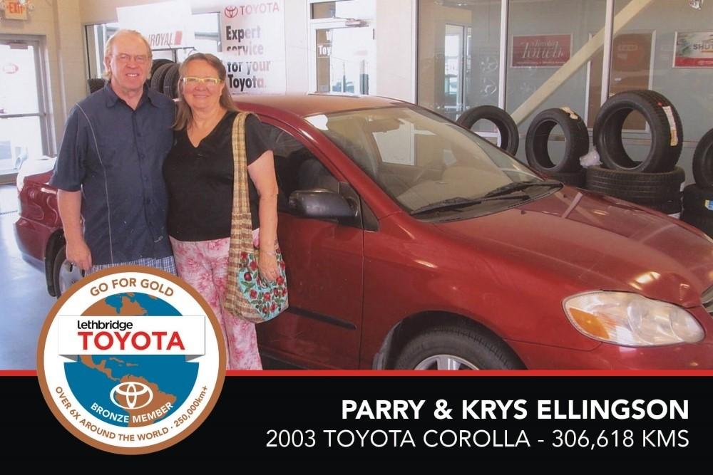 GFG. Bronze. Parry _ Krys Ellingson. 2003 Toyota Corolla. 306 618 KM. July 2017