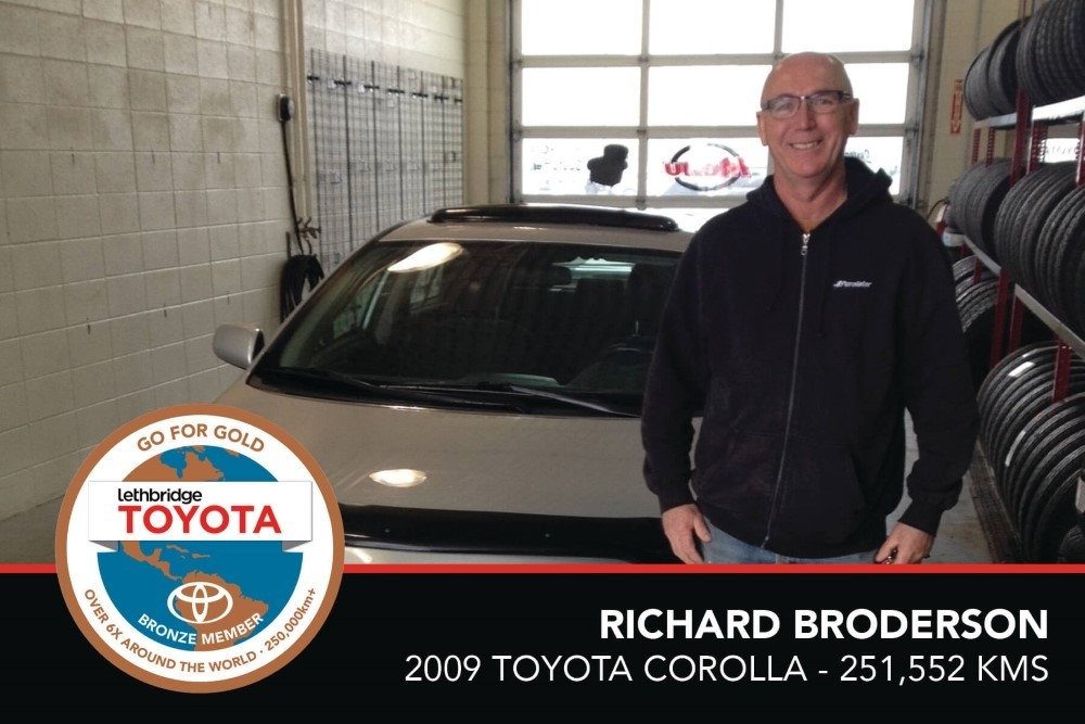 GFG. Bronze. Richard Broderson.2009 Toyota Corolla. 251 552KM. July 2017
