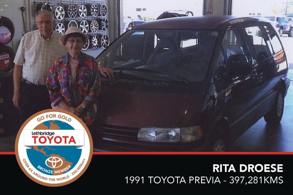 GFG. Bronze. Rita Droese. 1991 Toyota Previa. 397 281 KM. July 2017