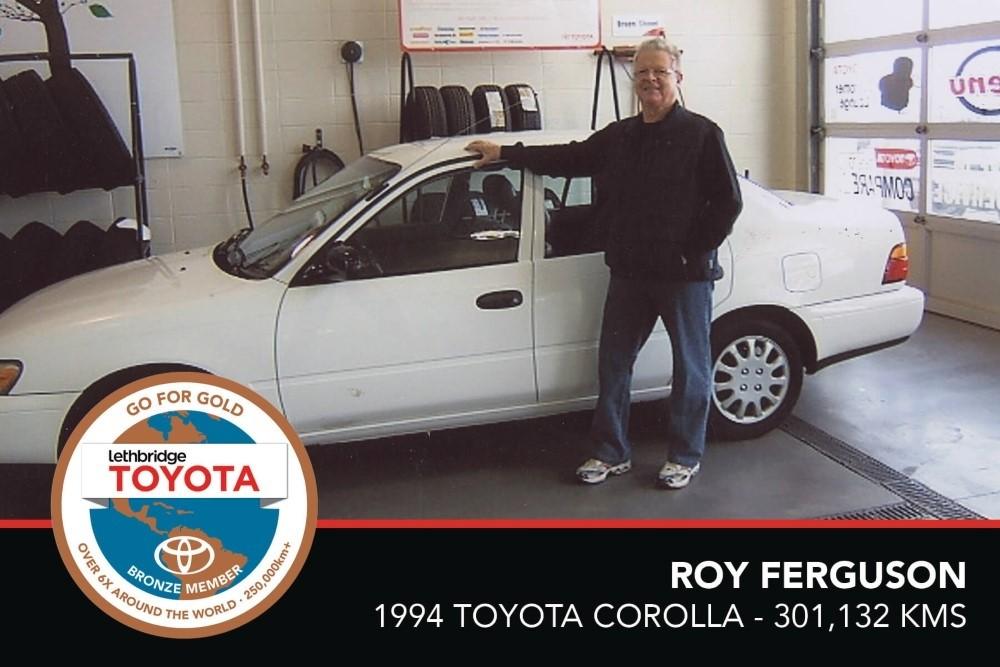 GFG. Bronze. Roy Ferguson. 1994 Toyota Corolla. 301 132 KM. July 2017