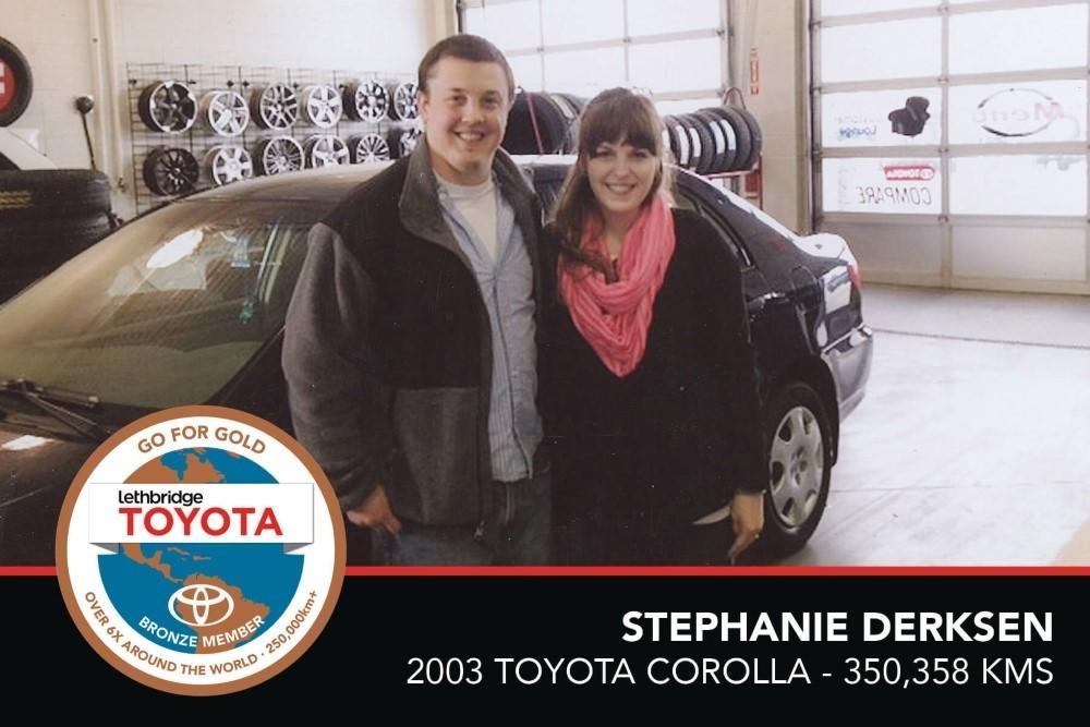 GFG. Bronze. Stephanie Derksen. 2003 Toyota Corolla. 350 358 KM. July 2017