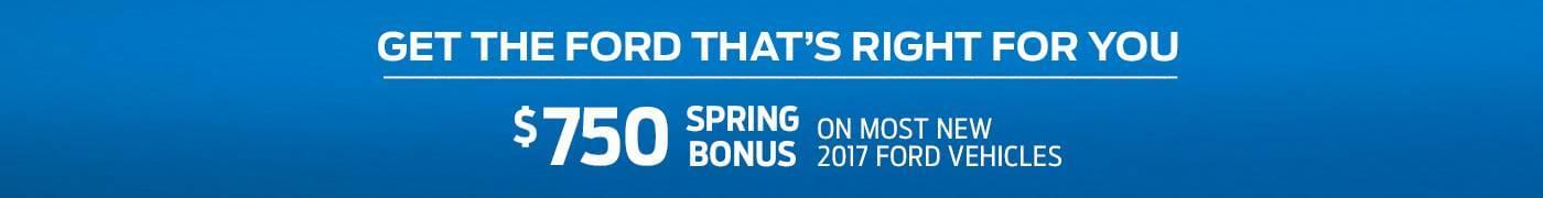 May Ford Spring Bonus $750 Offer Billboard