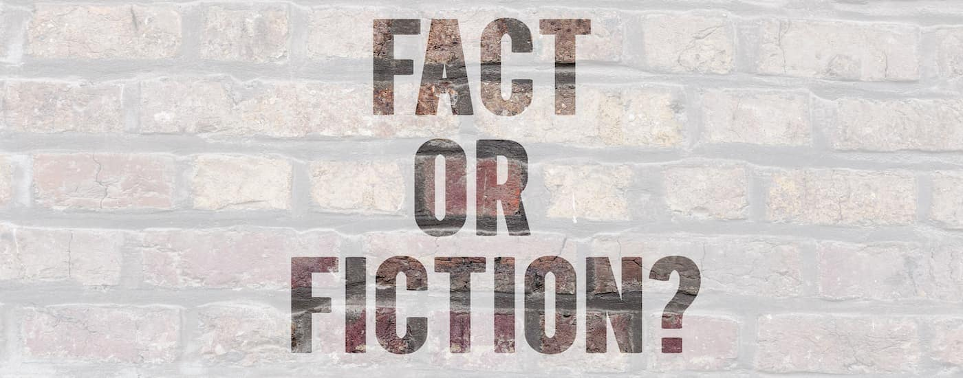A close up shows 'fact of fiction' text against a brick background.