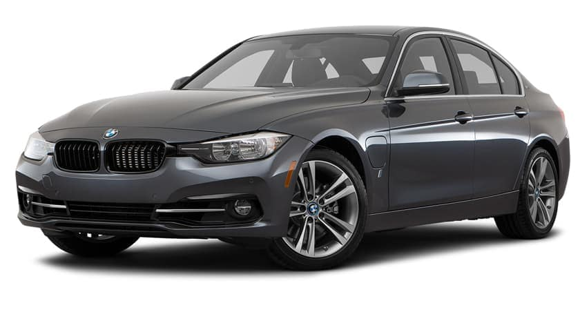 A dark grey 2017 used BMW 3-Series is facing left.