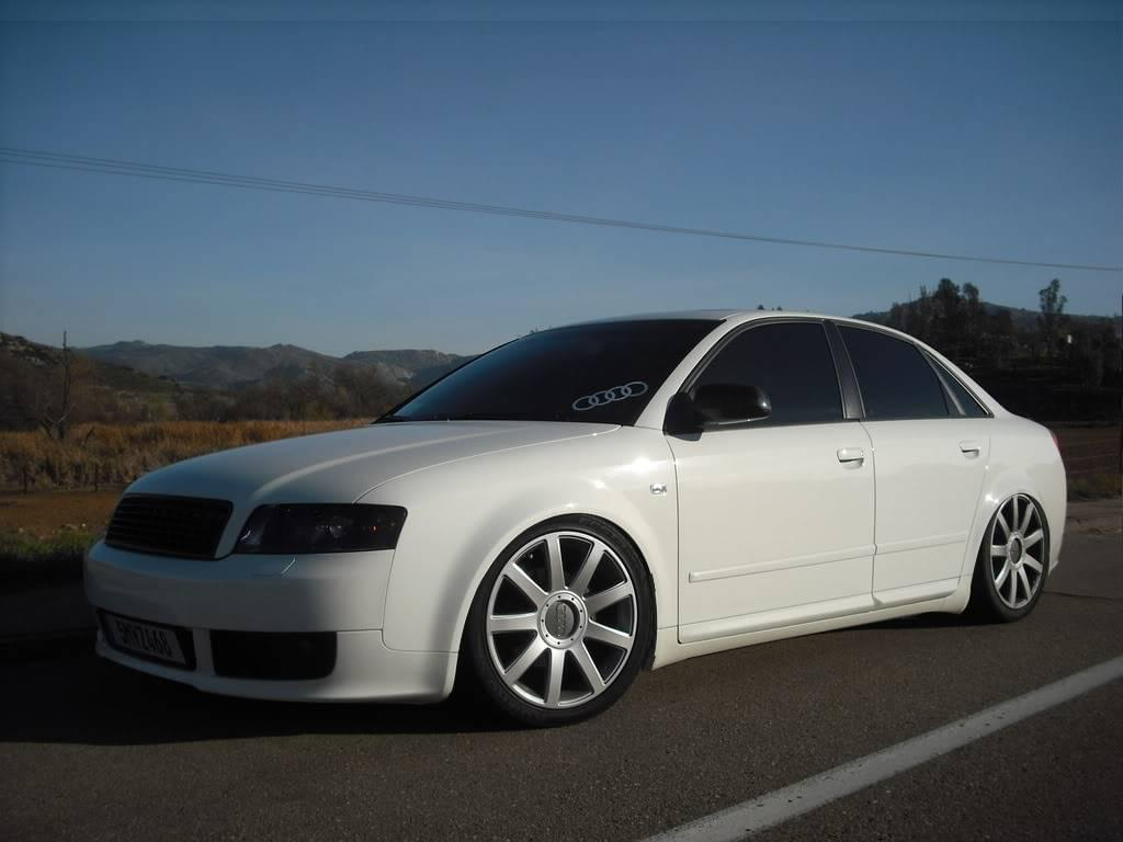 Lowered White 2001 Used Audi A4 on a desert road