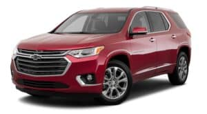 A red 2018 used Chevy Traverse is facing left.