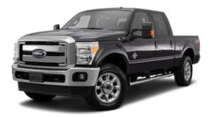 A black 2015 Ford F-250 is facing left.