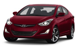 Red 2015 Hyundai Elantra angled left
