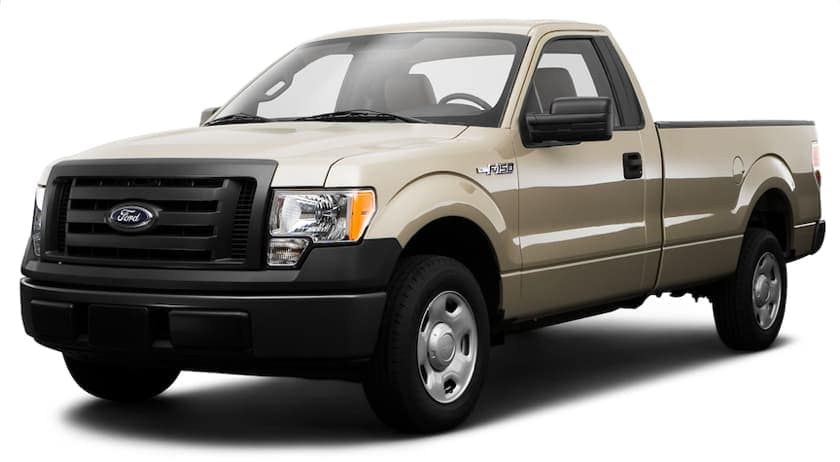 A gold 2009 used Ford F-150 XL Regular Cab is angled left on a white background.