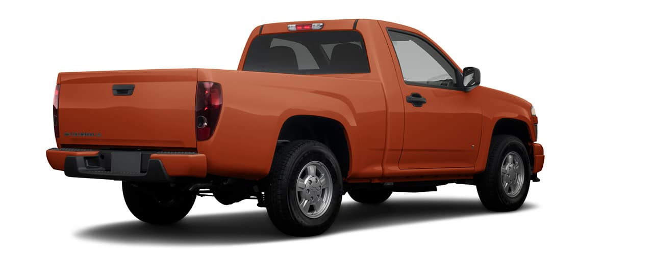Orange 2008 used Chevy Colorado LS facing away and to the right