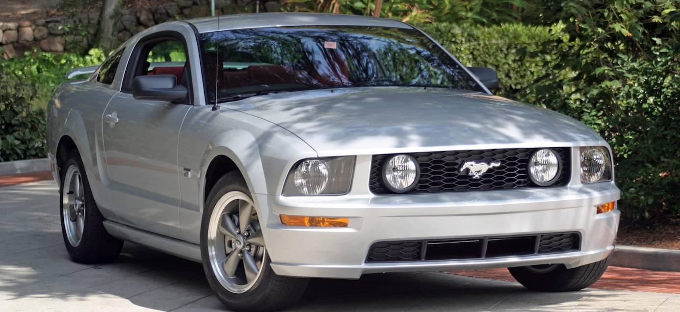 Silver 2005 Used Ford Mustang from the front in a driveway