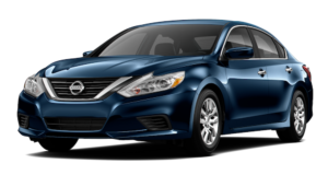 A dark blue 2017 Used Nissan Altima on white facing left
