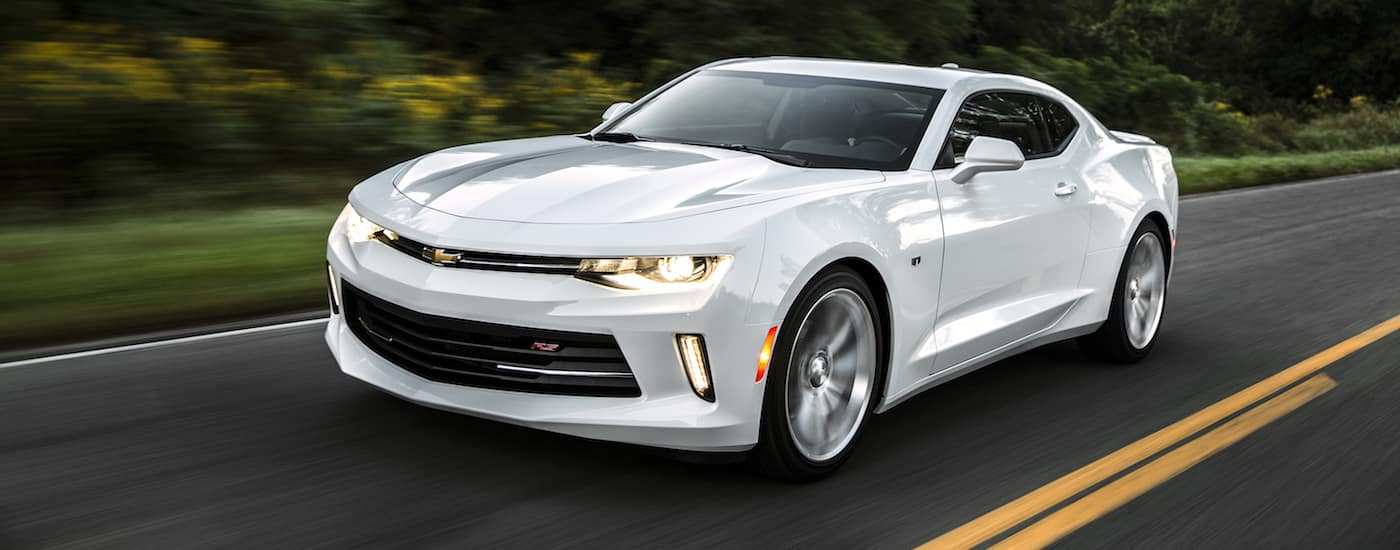 A white 2016 Used Chevy Camaro is driving on a grass-lined road.