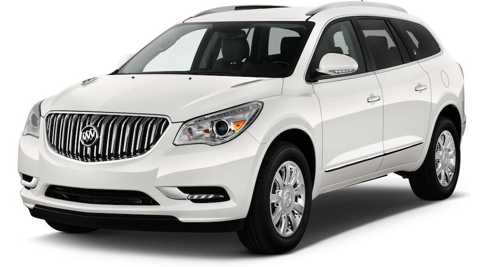 White Used Buick Enclave angled left