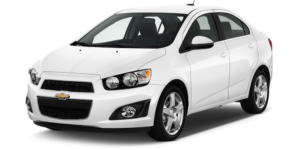 White Used Chevy Sonic angled left