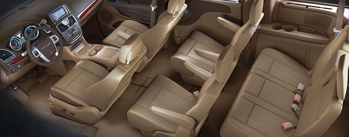 Beige 2015 Used Chrysler Town & Country Interior and three rows of seating from above