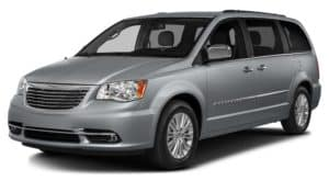 Silver 2016 Chrysler Town and Country angled left
