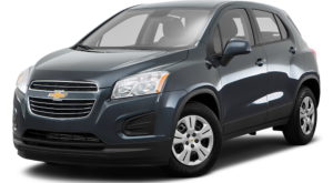 Dark Blue Chevy Trax 2017 angled left