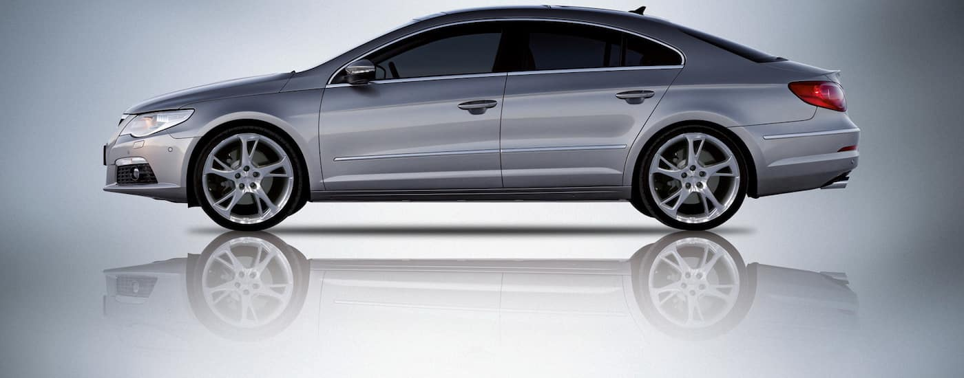 Profile of a Silver 2008 Used Volkswagen Passat against gray