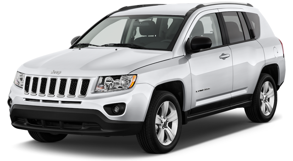White Used Jeep Compass angled left