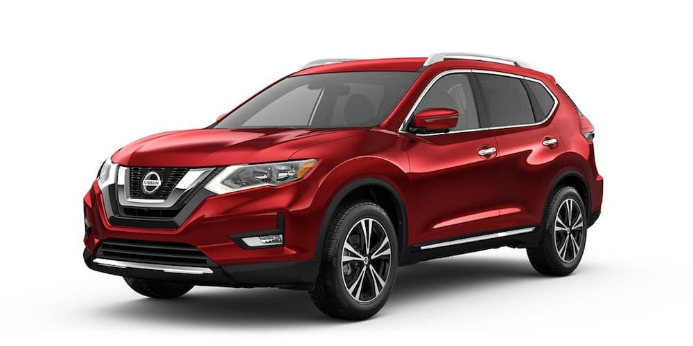Red Used Nissan Rogue angled left