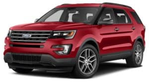 2015 Red Used Ford Explorer angled left