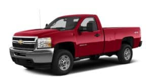 Red 2013 Chevy Silverado 2500HD angled left