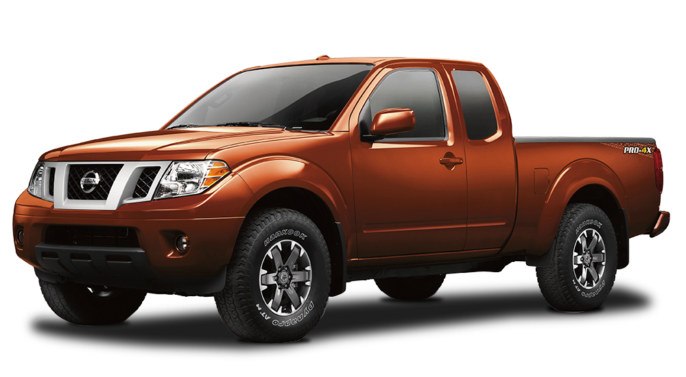 Orange Used Nissan Frontier angled left