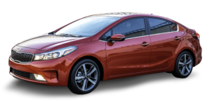 Red Used Kia Forte angled left