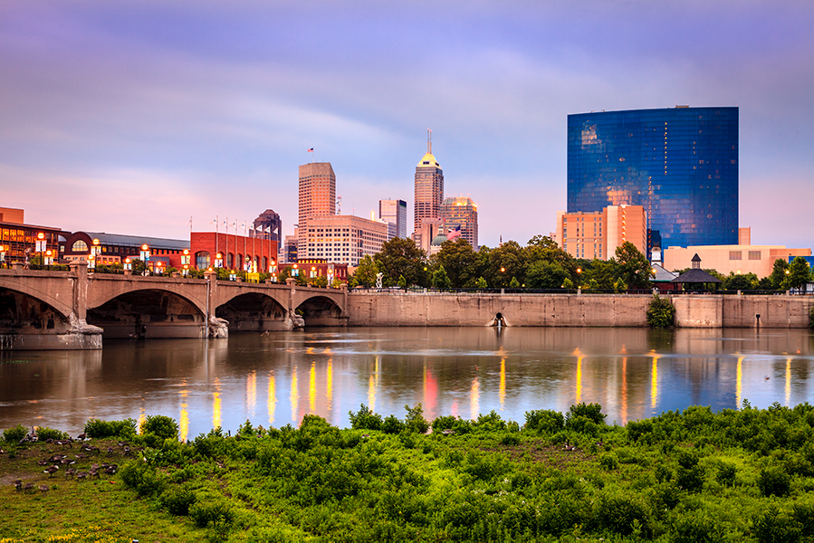 The Indianapolis Skyline and River at Sunset