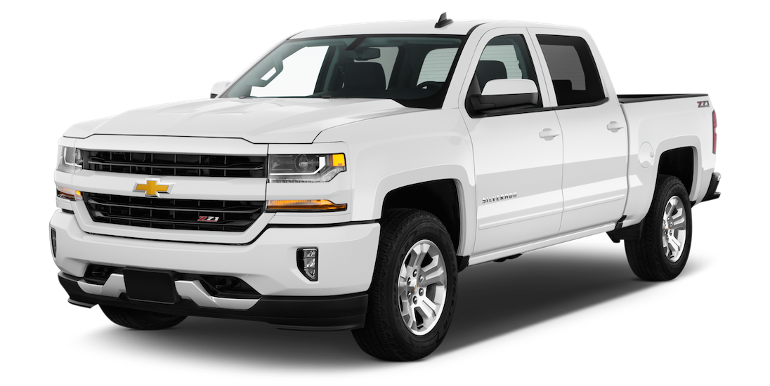 A white used Chevrolet Silverado is facing left.