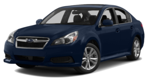 Dark blue Used Subaru Legacy angled left