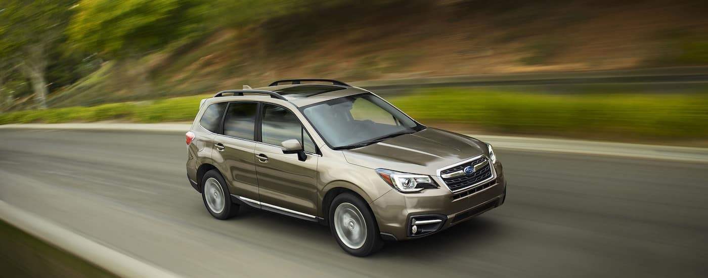 Gold Used Subaru Forester racing down a rural road