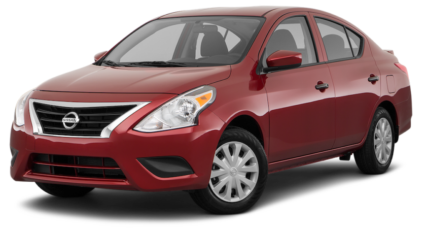 A red Nissan Versa angled left