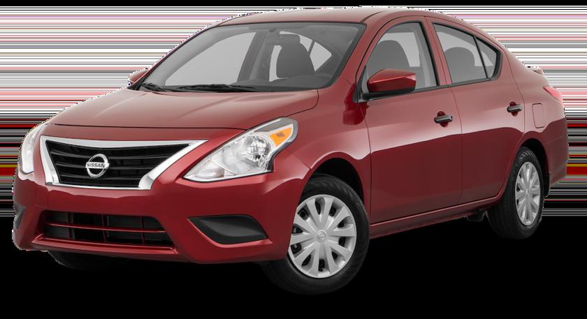 A red Nissan Versa