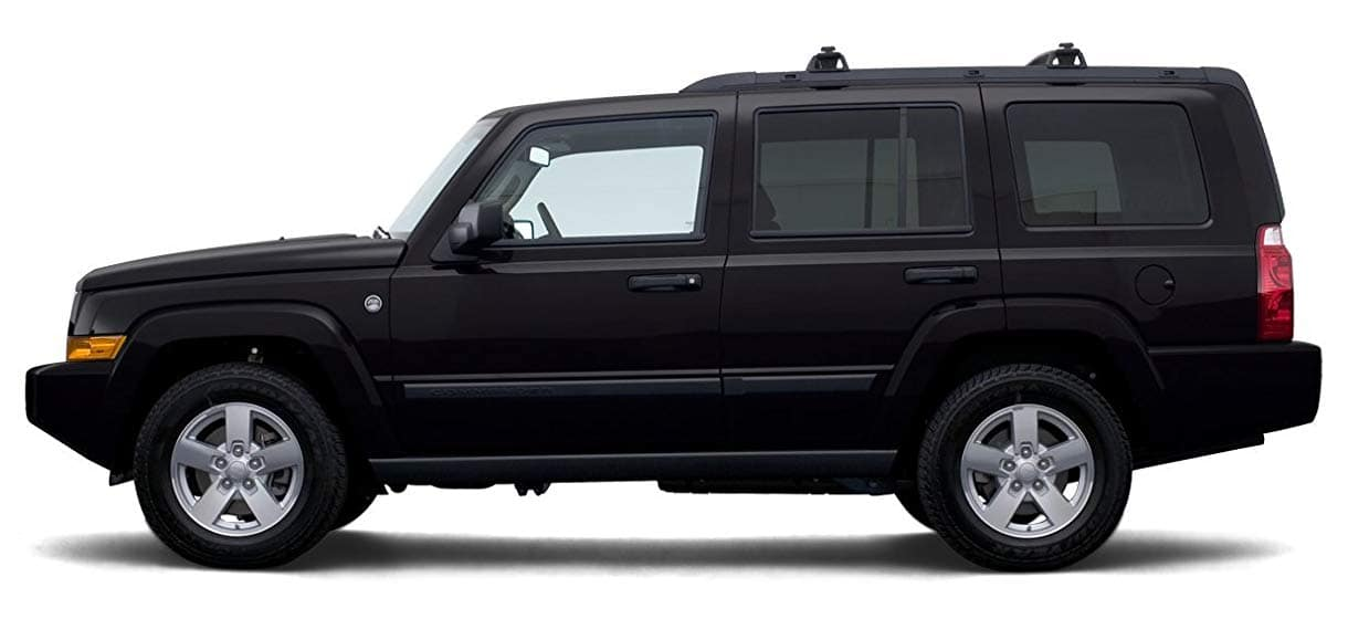 Black 2007 used Jeep Commander profile on white