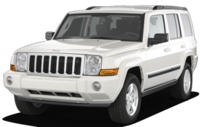 White 2010 used Jeep Commander on white background