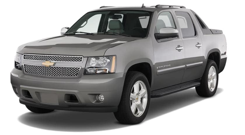 Gray 2009 Chevy Avalanche on white