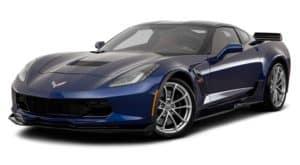 A dark blue 2019 Chevy Corvette is facing left.