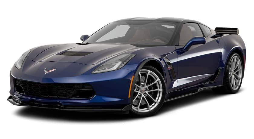 A dark blue 2019 Chevy Corvette is facing left.